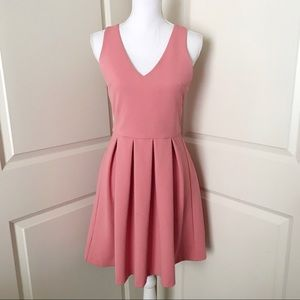 LOFT Pink Fit and Flare A Line Pleated Dress SZ 0